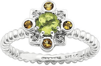 JCPenney FINE JEWELRY Personally Stackable Sterling Silver Genuine Peridot & Citrine Ring