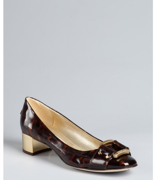 Jimmy Choo brown tortoise print patent leather 'Moore' gold block heel pump