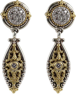 Konstantino Asteri Pave White Diamond Double-Drop Earrings InNmSua
