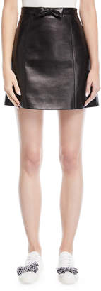 Miu Miu Bow-Front Leather Midi Skirt