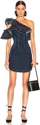 Self-Portrait Self Portrait x Lee Frill Mini Dress in Dark Blue | FWRD