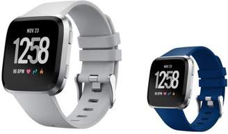 Fitbit Versa Bands Small by Zodaca 2-PACK (Gray + Dark Blue) Replacement Bands SMALL Size Adjustable Wrist Band Soft Rubber Silicone Clasp Buckle For Versa Fitness Smartwatch - Gray + Dark Blue