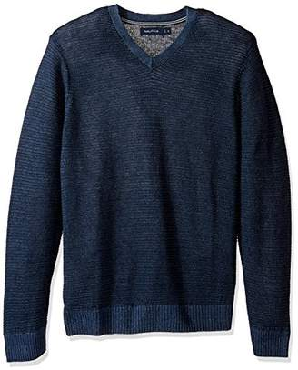 Nautica Men's Long Sleeve V-Neck Novelty Sweater