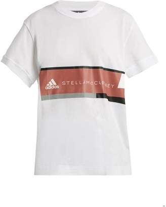adidas by Stella McCartney Essentials Logo Print Cotton T Shirt - Womens - White Multi