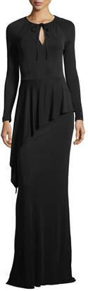 Rickie Freeman For Teri Jon Beaded Long-Sleeve Matte Jersey Peplum Gown