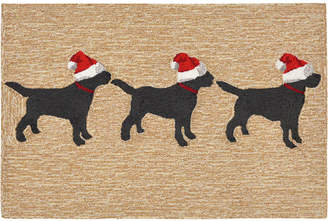 """Liora Manné Liora Manne' Front Porch Indoor/Outdoor 3 Dogs Christmas Neutral 2'6"""" x 4' Area Rug"""