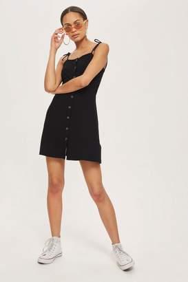 Topshop Button Through Ribbed Mini Dress