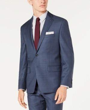Michael Kors Men's Classic-Fit Airsoft Stretch Blue Windowpane Suit Jacket