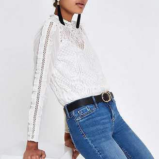 River Island Womens White lace ruffle long sleeve top