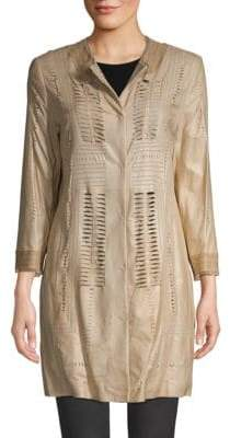 Elie Tahari Cecilia Leather Cutout Coat