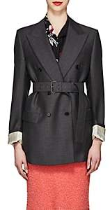 Prada Women's Mohair-Wool Belted Double-Breasted Blazer-Gray