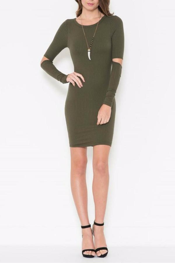 Solemio Open Elbow Olive Dress