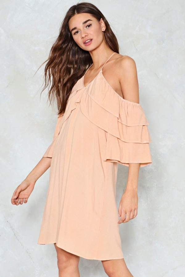 nastygal Tiers Are Falling Cold Shoulder Dress