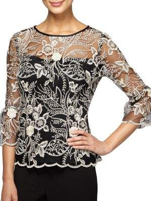 Alex Evenings Embroidered Floral Illusion Blouse