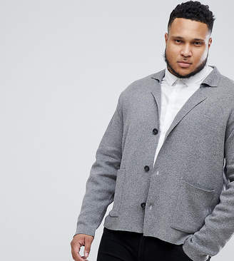 Asos Design PLUS Knitted Blazer In Grey