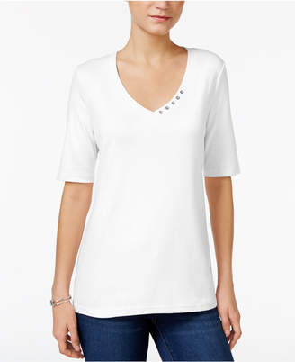 Karen Scott Petite Cotton Button-Detail T-Shirt, Created for Macy's