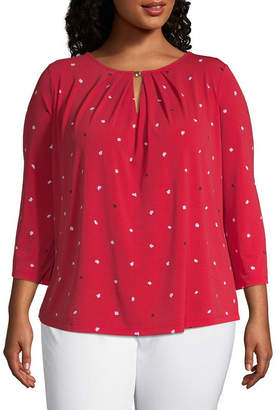 Liz Claiborne 3/4 Sleeve Metal Trim Top - Plus