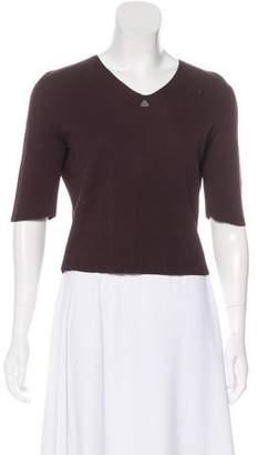 Chanel Rib Knit Short Sleeve Top