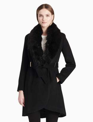 Calvin Klein luxe faux fur shawl collar belted jacket