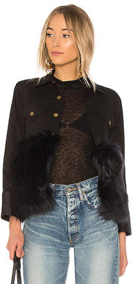 Harvey Faircloth Denim Jacket With Faux Fur.