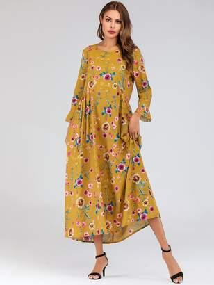 Shein Ditsy Floral Print Hidden Pocket Flounce Sleeve Dress
