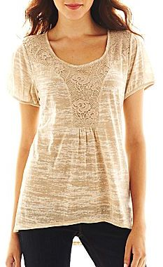 JCPenney Susan Lawrence Lace-Front High-Low Top