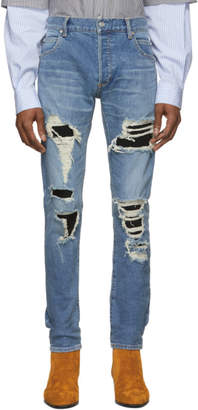 Balmain Blue Slim Fit Super Destroy Jeans