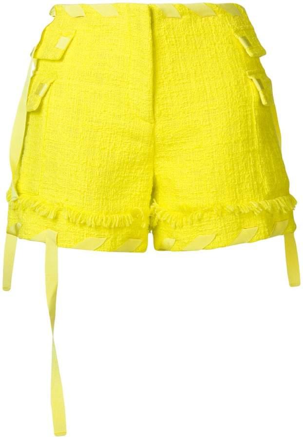 ribboned bouclé shorts