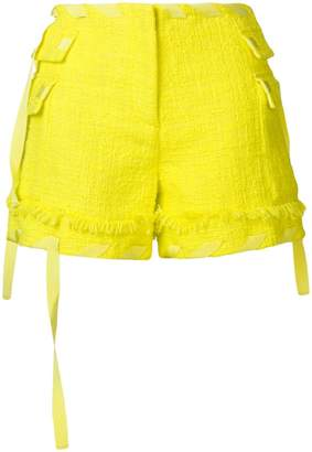 MSGM ribboned bouclé shorts