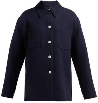 Acne Studios Odenna Boiled Wool Blend Overshirt - Womens - Navy