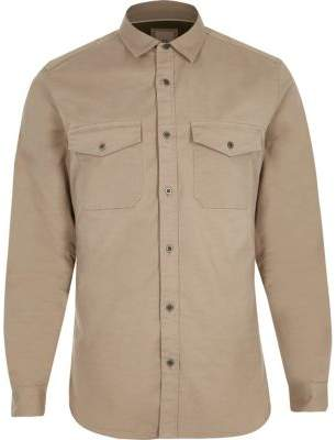River Island Stone long sleeve muscle fit military shirt