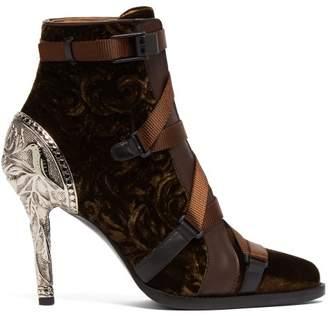 Chloé Tracy Velvet Ankle Boots - Womens - Khaki
