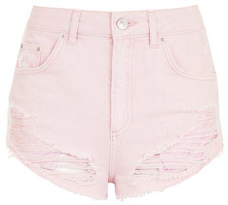 TopshopTopshop Moto pink mini denim shorts