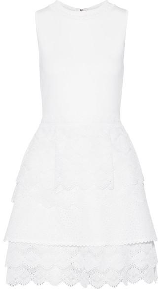 Antonio BerardiAntonio Berardi - Stretch-knit, Broderie Anglaise Organza And Poplin Mini Dress - White