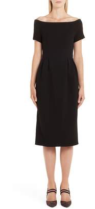 Fendi Off the Shoulder Wool Crepe Dress