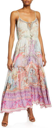 Camilla Printed Maxi Dress with Front Tie Detail