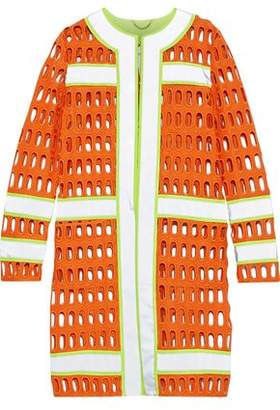 Moschino Neon-Trimmed Cutout Cotton-Blend Jacket