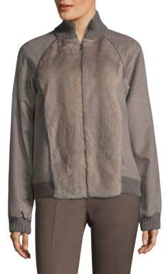 Lafayette 148 New York Mink Fur And Cashmere Jacket