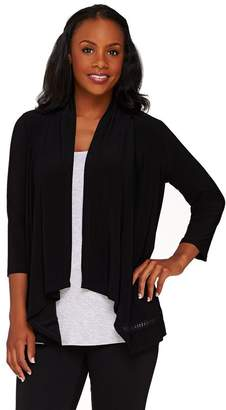 Joan Rivers Classics Collection Joan Rivers Drape Front Knit Cardigan with Crochet Detail