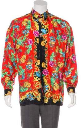 Versus Floral Print Silk Button-Up Shirt