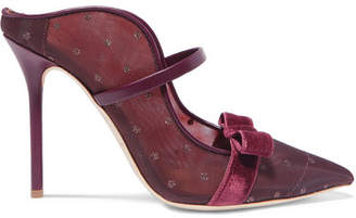 Malone Souliers by Roy Luwolt - Marguerite 100 Velvet And Leather-trimmed Mesh Mules - Burgundy