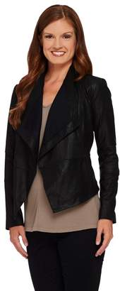 G.I.L.I. Got It Love It G.I.L.I Open Front Tonal Printed Leather Jacket with Pockets