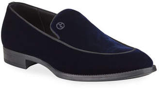 Giorgio Armani Men's Velvet Formal Loafers, Navy