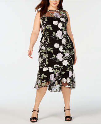 40d2ffd2d1d Calvin Klein Plus Size Embroidered Floral Flounce Dress