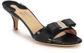 Salvatore Ferragamo Glory Patent Leather Sandals $425 thestylecure.com