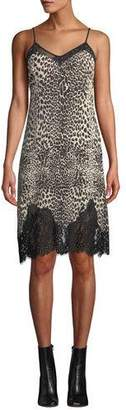 McQ Lace Panel Animal-Print Slip Dress
