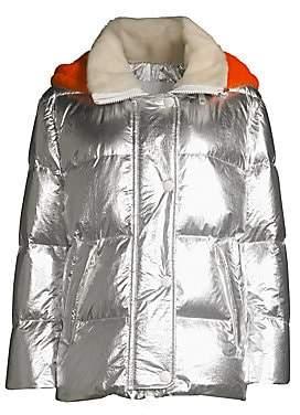 Yves Salomon Army by Women's Shearling Hood Metallic Puffer Jacket