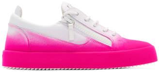 Giuseppe Zanotti White and Pink Flashy May London Sneakers