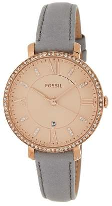 Fossil Women's Jacqueline Crystal Embellished Leather Strap Watch, 36mm