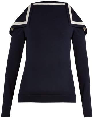 Oscar de la Renta Cut-out shoulder silk-blend knit sweater